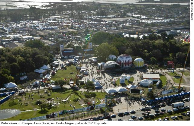 Vista aérea do Parque Assis Brasil, em Porto Alegre, palco da 35ª Expointer