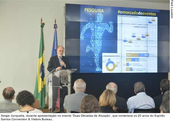 Sergio Junqueira, durante apresentação no evento 'Duas Décadas de Atuação', que comemora os 20 anos do Espírito Santos Convention & Visitors Bureau.